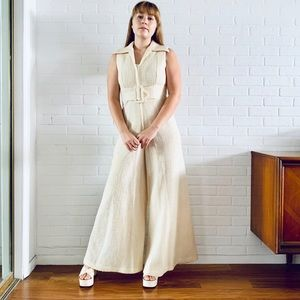 70s Jumpsuit Cream Knit Size S M